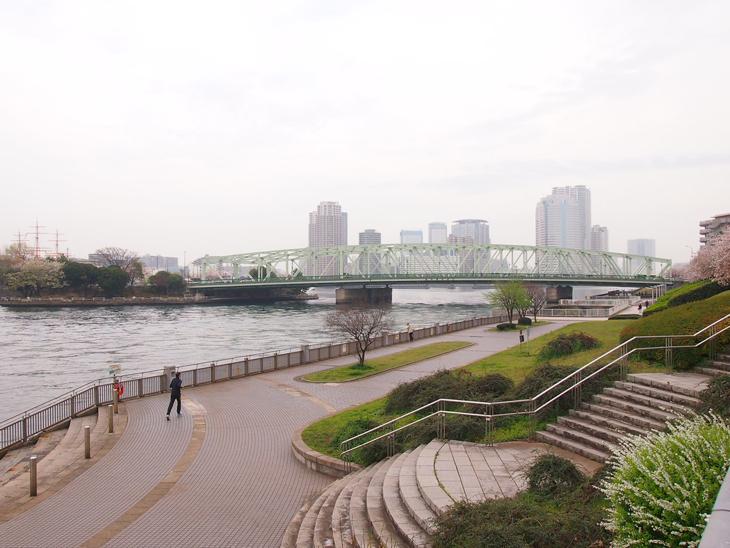 奥の緑色の橋が相生橋です。