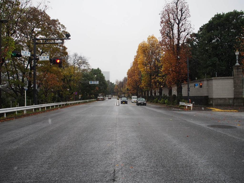 大きな道路を渡る