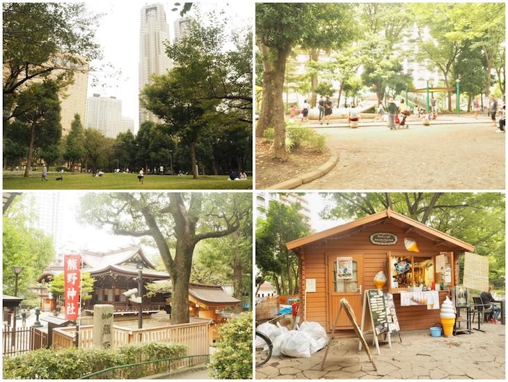 大人が楽しめる広場。子供が楽しめるちびっこ広場があります。なんと、神社も。