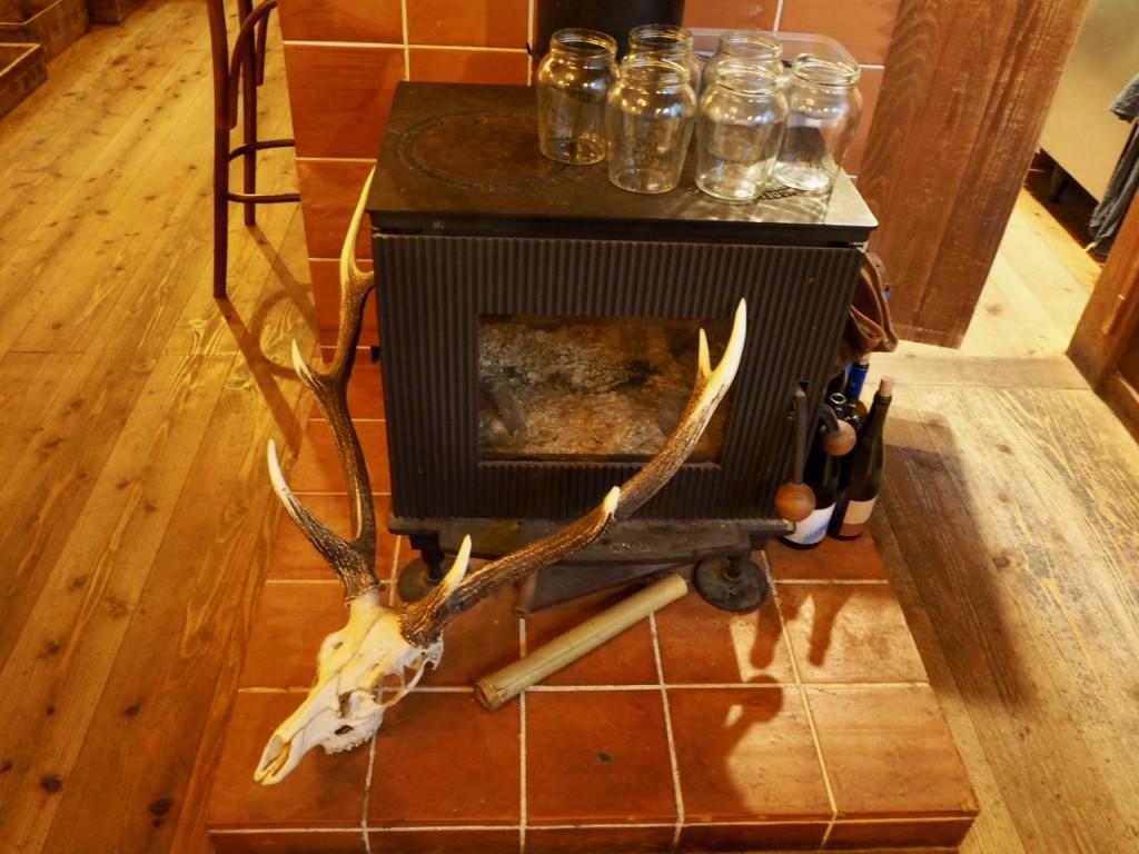 暖炉に鹿の角、まさに山小屋。