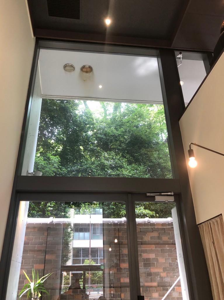 天井の高い窓からは六義園の緑!